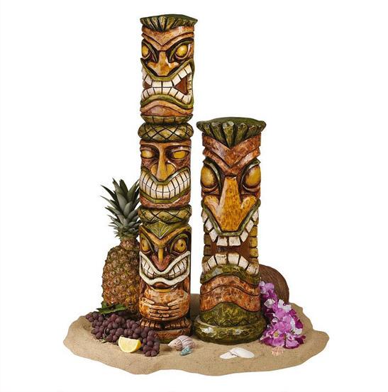トーテムポール ハワイアン南国風 アロハ ハワイ ティキ彫刻:2セット彫像  トーテムポール ハワイアン南国風オブジェ アロハ ハワイ ティキ彫刻:2セット 彫像オブジェ 貨置物/Hawaii Tiki Sculpture:(輸入品