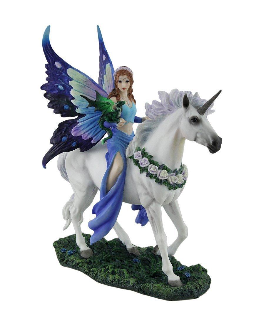 ヴェロネーゼ製 アン・ストークス作 一角獣(ユニコーン)と、魅惑のブルーフェアリー(碧い妖精)彫像 彫刻(輸入品)