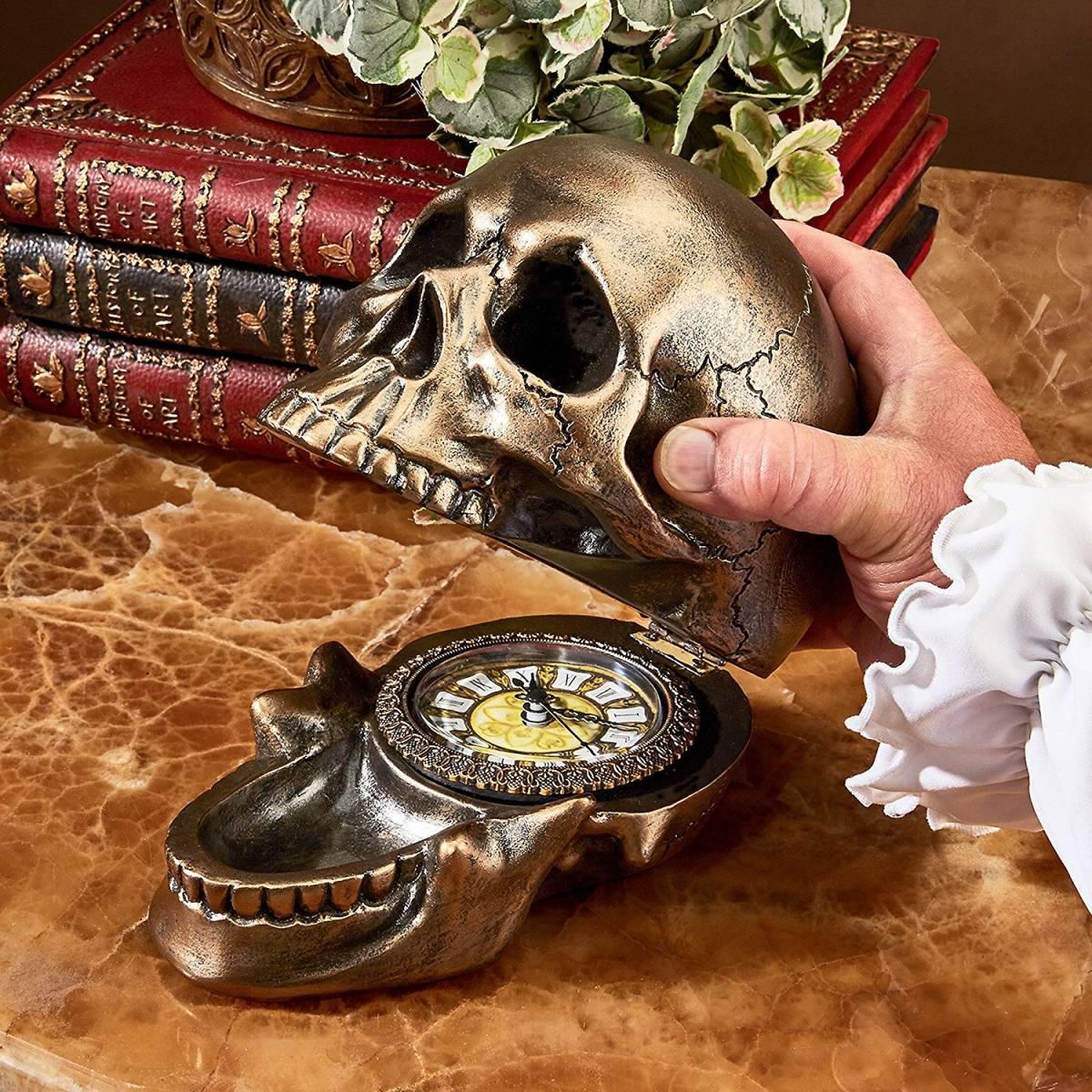頭蓋骨の時計 死の形見(メメントモリ)置時計 スカル骸骨彫刻 オブジェア彫像 オカルト雑貨/Memento Mori Skull Clock(輸入品