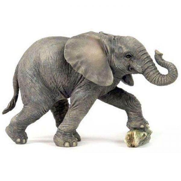 岩を蹴っている 野生の子どもの象(ゾウ) エレファント 彫像 置物/8.13 Inch Baby Elephant Kicking Rock Decorative Figurine, Gray(輸入品