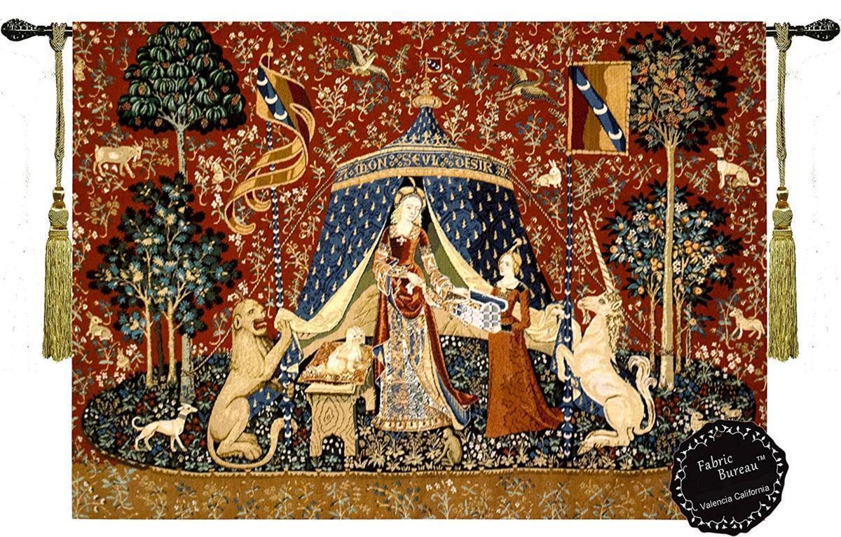 楽天市場 我が唯一つの望みに 貴婦人と一角獣 ユニコーン の中世アートジャガード織 壁掛けタペストリー 幅81センチ 長さ66センチ 輸入品 浪漫堂ショップ