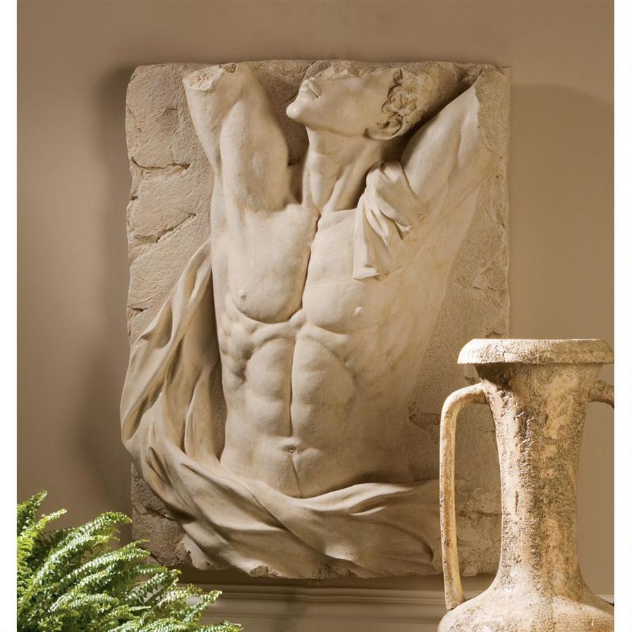 デザイン・トスカノ製 古代ギリシャ神 アドニスのトルソー(胴体) レリーフ壁彫刻 ストーン風 彫像(輸入品)