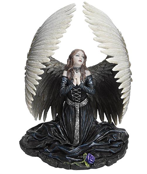 堕天使の祈り ハンドペイント彫像 作者 アン・ストークス彫刻/ Prayer for the Fallen Angel Statue by artist Anne Stokes[輸入品