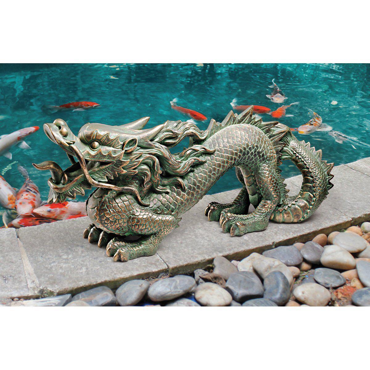 万里の長城のアジアン・ドラゴン 中国 龍 置物 彫像 彫刻/ ガーデニング 和風庭園 園芸 作庭 広場 エントランス プレゼント贈り物(輸入品