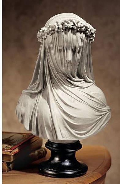 ベールを被った美しい女性 花嫁胸像 彫刻 彫像/ The Veiled Maiden Sculptural Bust(輸入品