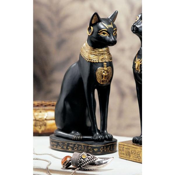 古代エジプト バステト神 雌猫女神 彫刻インテリア 彫像置物/Egyptian Cat Goddess Bastet with Earrings Figurine(輸入品