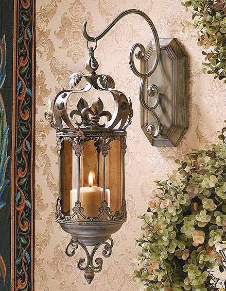 中世の廊下用吊り下げ灯火燭台、壁取り付け用燭台キャンドルホルダー 彫刻 彫像 / Medieval Hallway Hanging Pendent Light,Wall [輸入品