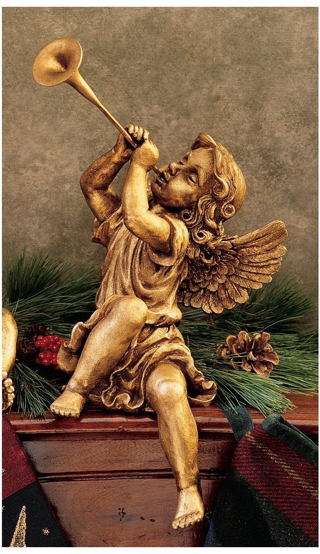 デザイン・トスカノ製 セントピーターズ広場のトランペットを吹く天使:ガ-ルエンジェル 彫像 彫刻(輸入品