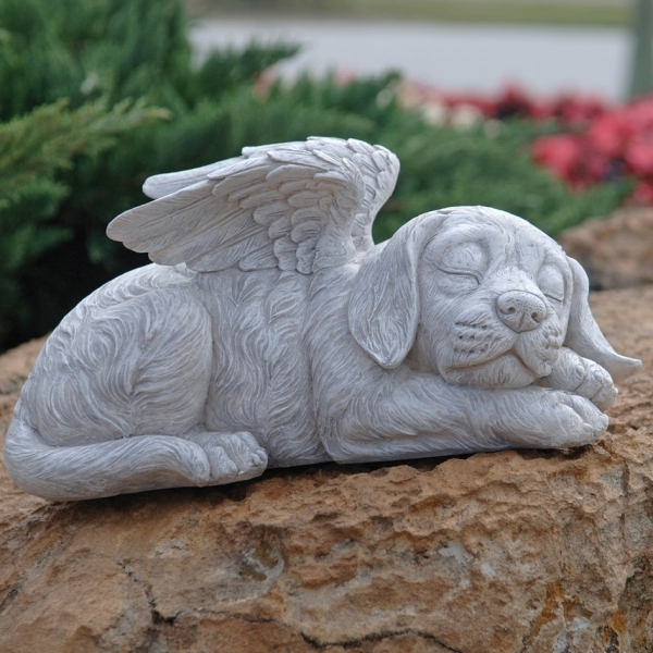 犬の天使像(ドッグ・エンジェル) エクステリア 屋外オブジェ インテリア置物(輸入品