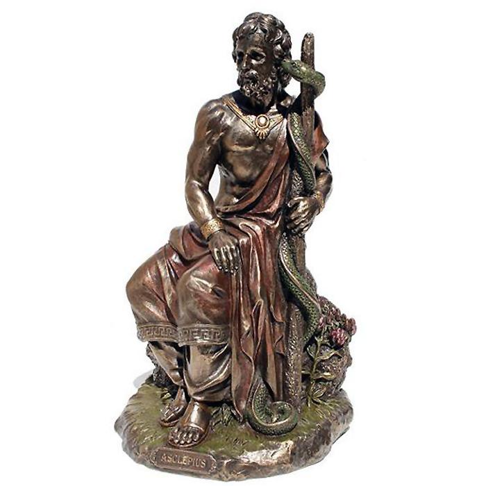 アスクレピオスの杖を持った医学の神 アウクレピオス ブロンズ風彫刻 彫像/ Asclepius Greek God Of Medicine Statue (輸入品