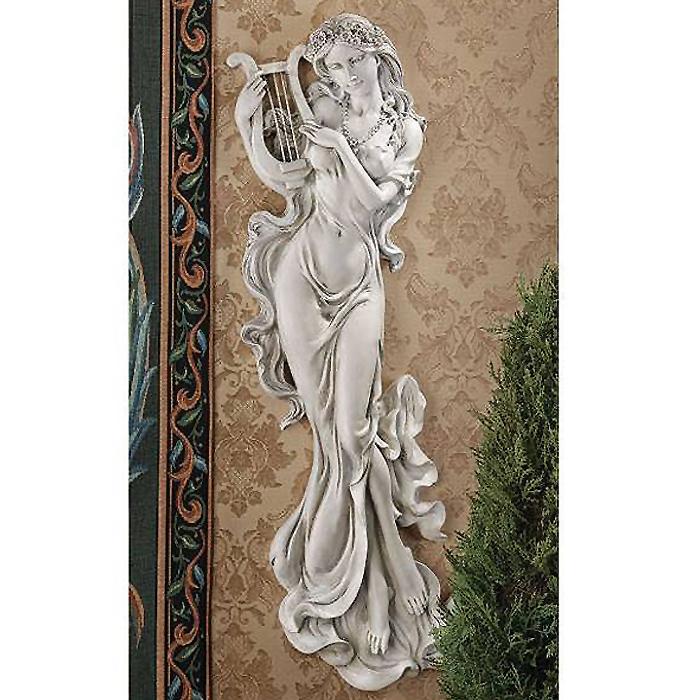 約76cm 古典 ハープを奏でる、音楽の女神 天使 ウォール レリーフ壁彫刻 彫像/30