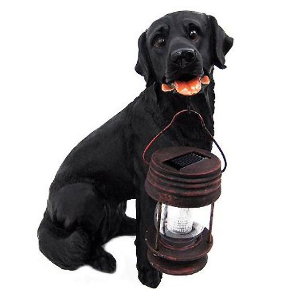ランタンを咥えた黒ラブラドール・レトリバー犬 ガーデン用ソーラーライト付き 彫像 彫刻/ Black Labrador Retriever Solar Garden Light(輸入品)