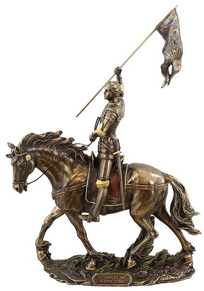 IHSマリアの旗を掲げた 馬上のジャンヌ・ダルク 彫像 彫刻/ Joan of Arc on Horse Back with Flag(輸入品