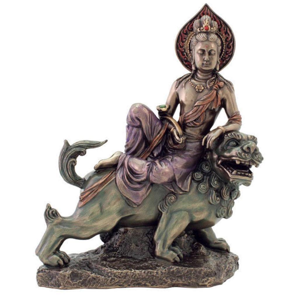 獅子に乗る智慧を司る仏 文殊菩薩 仏教彫像 置物 ブロンズ風フィギュア彫刻 ヴェロネーゼ製/10 Manjusri Bodhisattva(輸入品