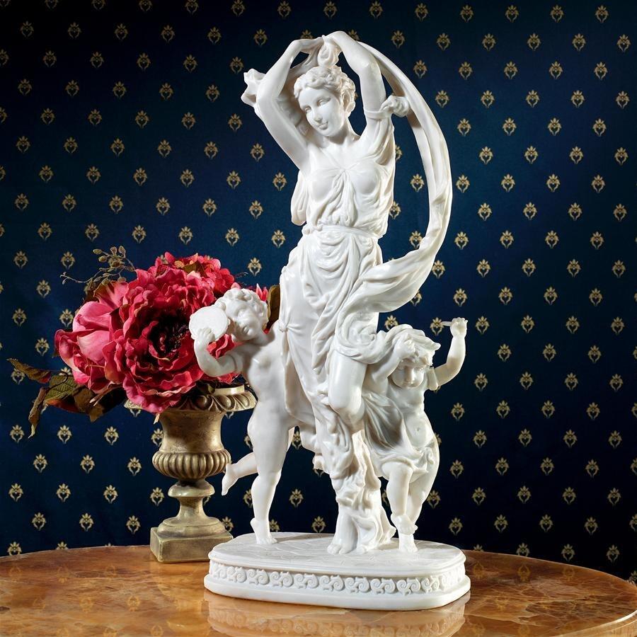 デザイン・トスカノ製 春の踊り クローディオン作 女神像 大理石風 西洋彫刻、高さ 約48cm彫像 彫刻置物(輸入品)