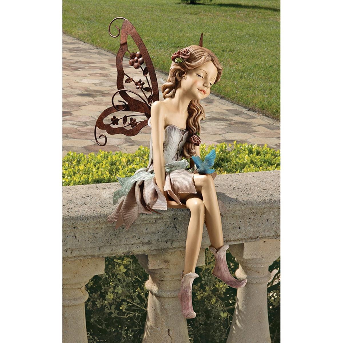 デザイン・トスカノ製 ファニー、座る妖精の彫像 彫刻/ Design Toscano Fannie, the Fairy Sitting Statue(輸入品