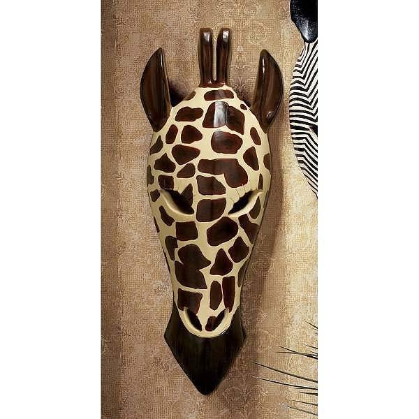 古典的なアフリカの野生動物種族のキリンのマスク 壁彫刻 彫像/ Classic African Wildlife Tribal Giraffe Wall Mask(輸入品