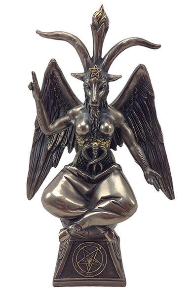 バフォメット(悪魔崇拝 黙示録 サバトの牡山羊) サタニズム ブロンズ風 彫刻 彫像/ Goat Baphomet Satanism Sabbatic Sculpture(輸入品
