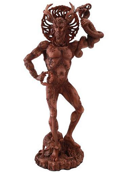 ケルト神話の狩猟の神にして冥府神、ケルヌンノス 高さ 約25cm(レッド・ウッド色)彫刻 彫像/ Celtic Horned God Cernunnos Statue