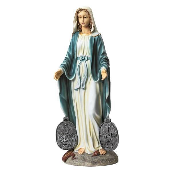 奇跡の(記章)勲章を携えた、聖母マリア 彫刻 神聖なガーデン彫像 高さ 約56cm/ Miraculous Medal Madonna Sacred Garden Statue(輸入品)