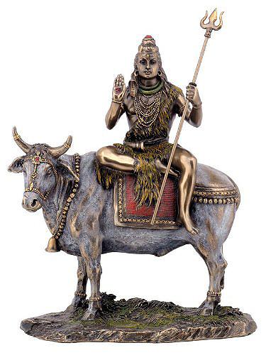 乳白色の牡牛(ナンディン)の背中に乗る シバ神(シヴァ神) ヒンズー教 彫刻 彫像/ Shiva on Nandi the Bull Statue (輸入品
