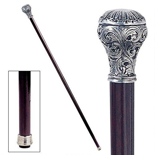 デザイン・トスカノ製 パドローネコレクション/華やかなボールが付いた ピューター製 装飾ハンドル 飾り杖 ウォーキングスティック 紳士用