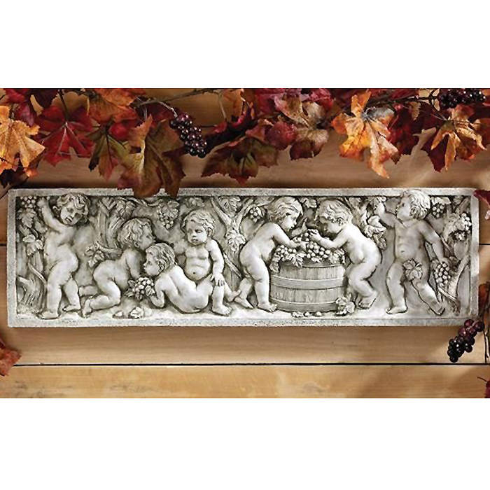 レリーフ 壁彫刻 天使の秋のワイン収穫祭 イタリア アンティーク工芸彫像/ Wine Harvest Wall Sculpture (輸入品)