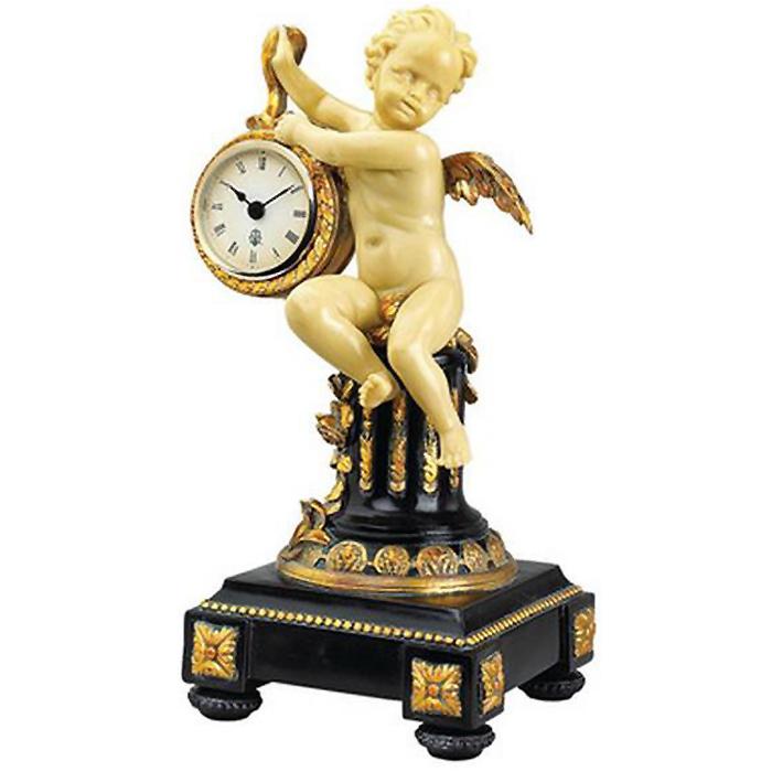 新古典主義 シャトー・コルヴィル 天使ケルビムの置時計 彫刻 彫像/ Chateau Colville Neoclassical Cherub Table Clock(輸入品