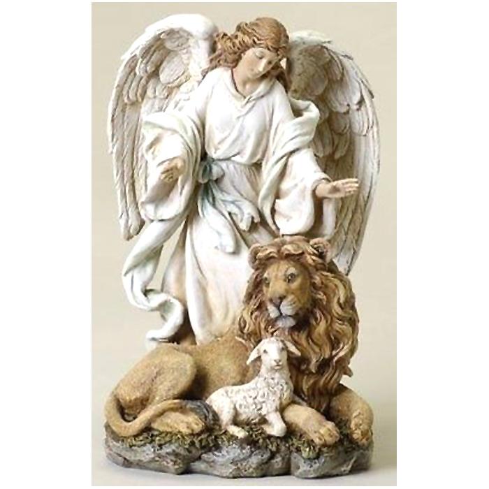 エンジェルコレクション ヨセフ・スタジオ製 ローマン特製 ライオンと子羊と天使の置物、高さ 約24cm 彫像 彫刻(輸入品