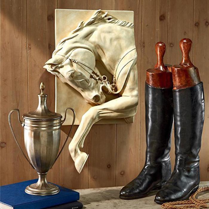 後脚で)躍りはねて進む駿馬 壁彫刻 彫像/ Prancing Steed Horse Wall Sculpture Prancing Steed Horse Frieze(輸入品