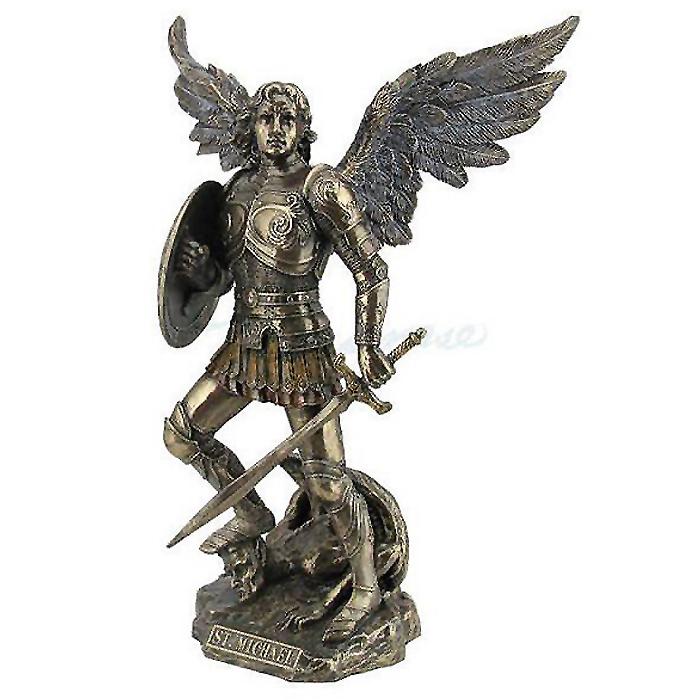 剣と盾 を持ち 悪魔を踏みつける 守護天使ミカエル ブロンズ風 彫像 彫刻/ St. Michael with Sword and Shield - Bronze Color(輸入品