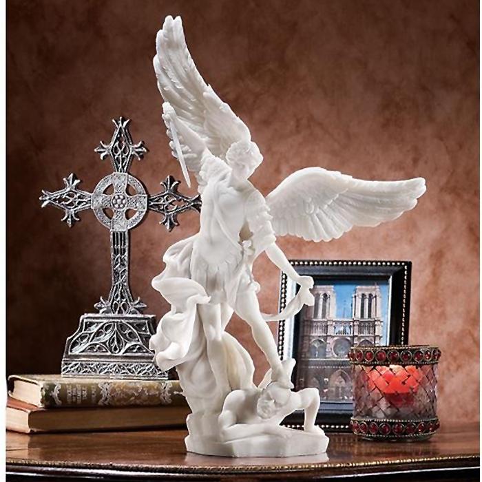 守護天使 大天使ミカエル 大理石風 彫像 彫刻/ Design Toscano Bonded Marble St. Michael the Archangel Angel Statue(輸入品)