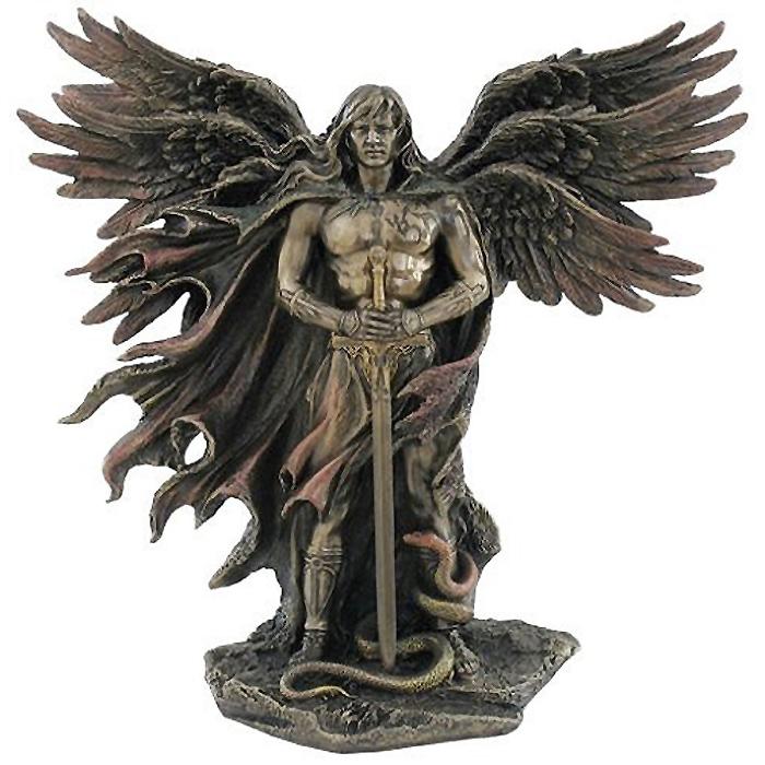 6つの翼の 剣と蛇を持った守護天使 セラフィム コールドキャストブロンズ風 彫像 高さ 約28cm/ Six Winged Guardian Angel (輸入品)