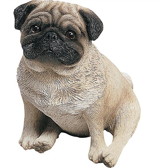 オリジナルサイズ 座るパグ 淡い黄褐色彫像 / Sandicast Original Size Fawn Pug Sculpture, Sitting[輸入品