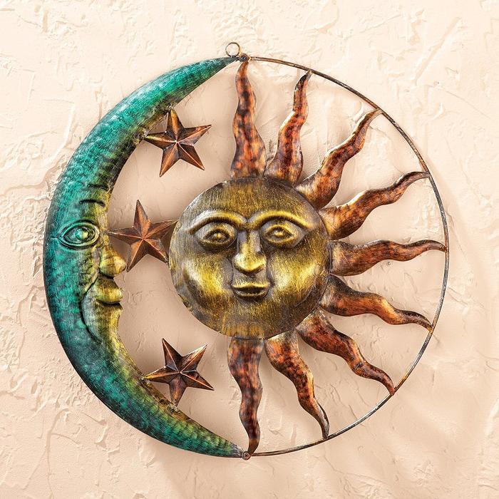 「芸術的な太陽と月」 屋内&屋外用の金属 壁装飾アート 彫像 彫刻 インテリア 壁装飾 カフェ アート パブ サイン 看板 中世デザイン/ Artistic Sun And Moon Metal Wall Art for Indoor or Outdoor Use, Brown(輸入品)