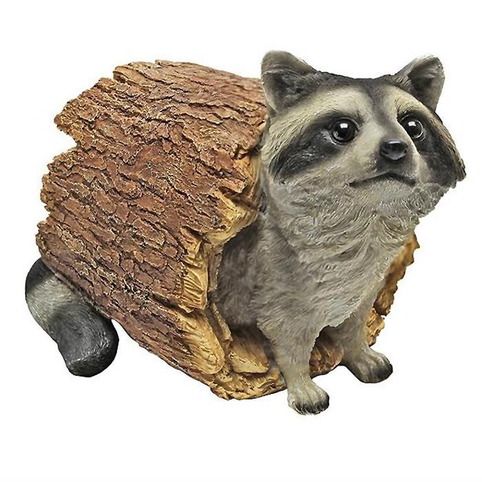 ガーデン彫刻 何かを盗もうと狙っているアライグマ 彫像、彫刻/ Bandit the Raccoon Statue, Multicolored(輸入品