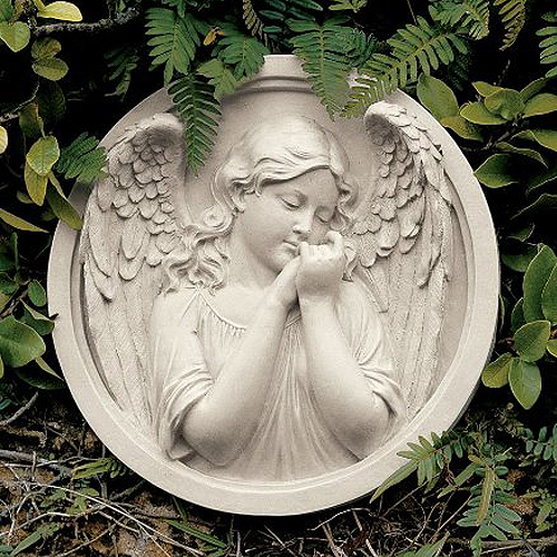 エンジェルの思い 丸い壁掛け彫像 壁飾り 装飾彫刻/ Thoughts of an Angel Sculptural Wall Roundel(輸入品)