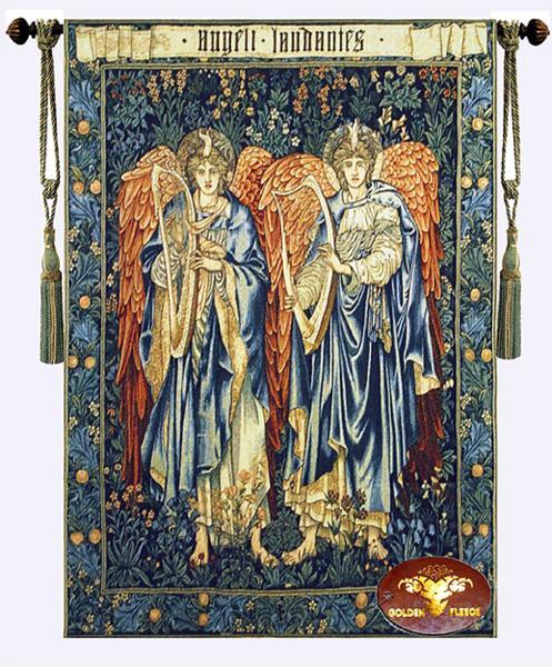 ウィリアム・モリス作 美しい 2人の天使「天使を賞賛する」 タペストリー ジャカード織り 壁掛け /Beautiful Angeli Laudantes(輸入品
