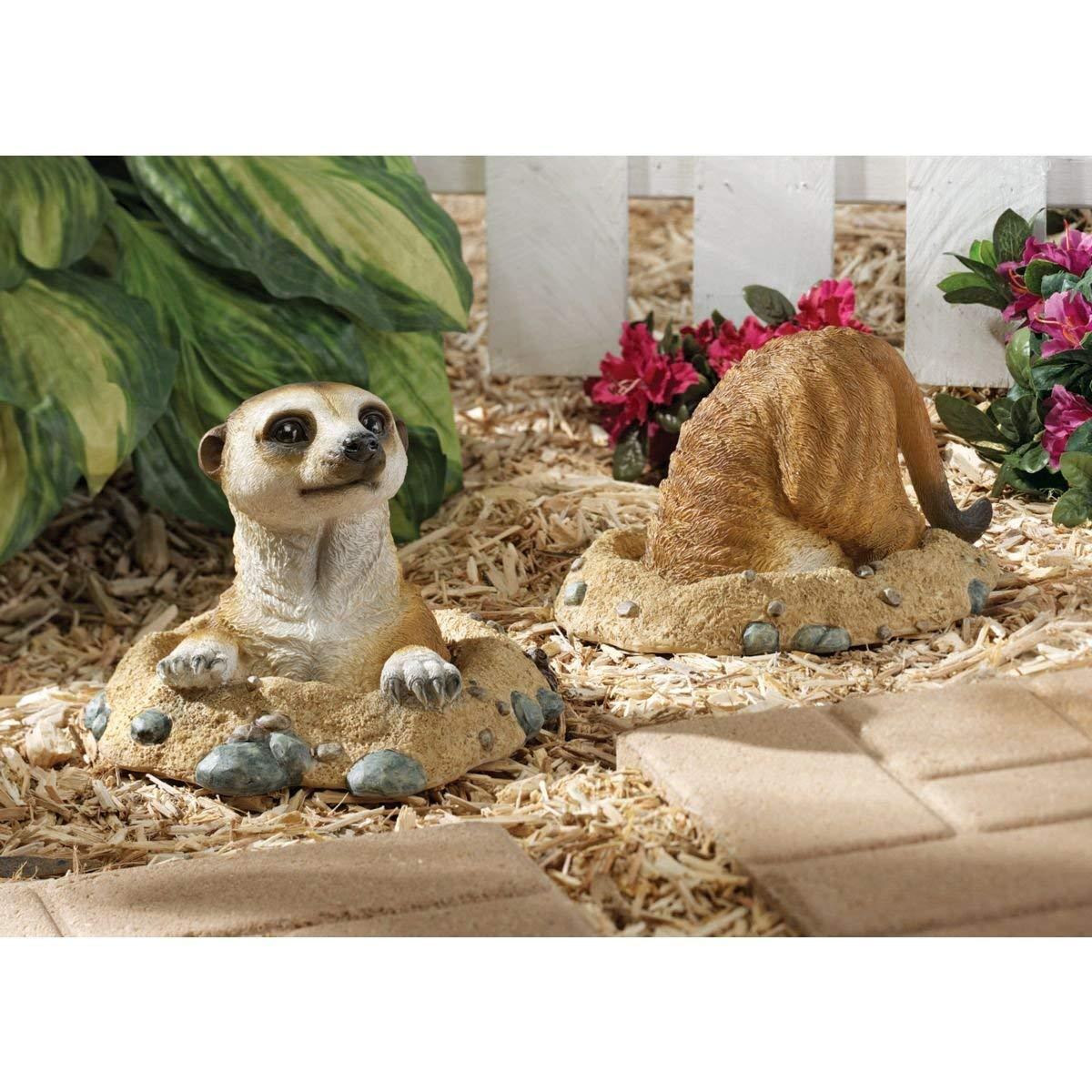 カラハリ砂漠のミーアキャット 彫像:穴に入る所、穴から顔の出す所 2個彫刻/ Kalahari Meerkat Statues(輸入品)