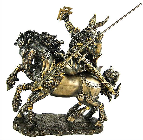 北欧神話の神 オーディン ブロンズ風仕上げ 彫像 パガンバイキング / Norse God Odin Bronze Finish Statue Pagan Viking(輸入品)
