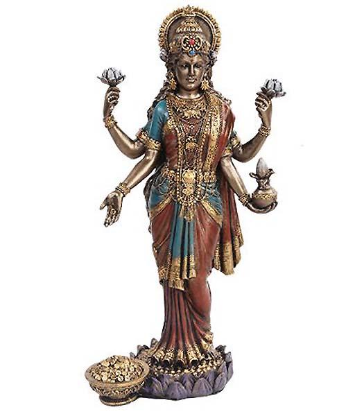 吉祥天 高さ約25cm ラクシュミー インド神話 ヒンドゥー教女神 置物 彫刻 彫像/ Lakshmi Mythological Goddess Statue(輸入品)