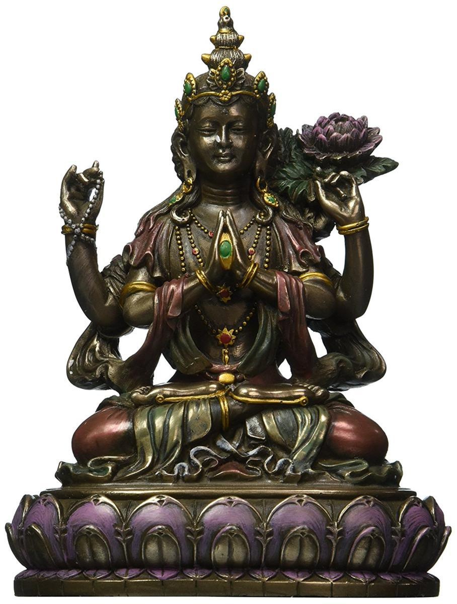 観音菩薩座像 観世音菩薩(かんぜおんぼさつ)観自在菩薩 仏教 慈悲と長寿の仏像彫像 / Buddhist Avalokiteshvara(輸入品)