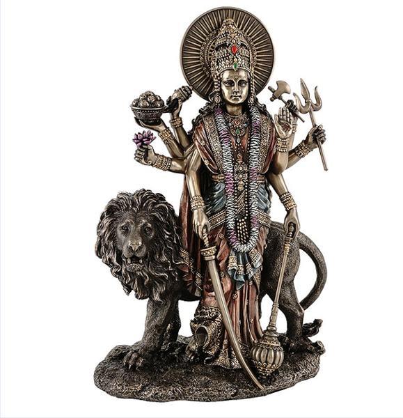 ヒンズー教 デーヴァ神族の女神 ドゥルガー(デュルガ) ブロンズ風 彫刻 彫像 高さ約28cm/ Durga Hindu Divine Mother Goddess(輸入品)