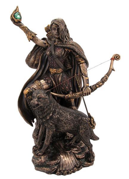 ブロンズ風 北欧神話の女神 スカジ 彫像 バイキング/ Bronzed Finish Norse Goddess Skadi Statue Viking(輸入品)