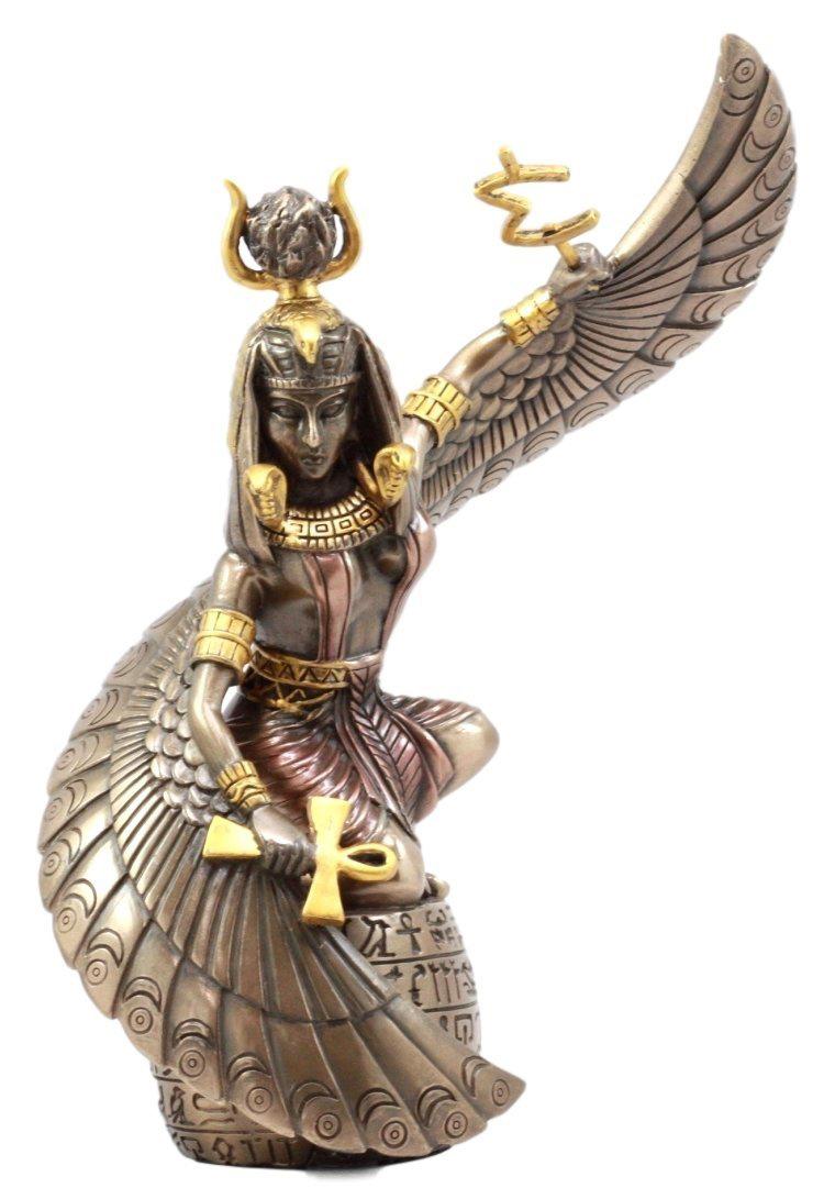 アンクを持った 古代エジプトの女神 イシス 彫刻 彫像 / Egyptian Goddess Mother Isis Ra Holding Ankh Figurine (輸入品)