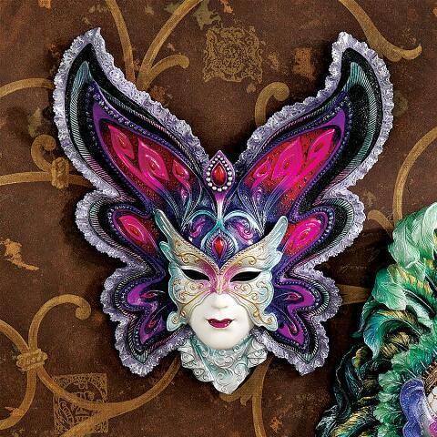 デザイン・トスカノ製 マルディグラの乙女たち ベネチアンマスク ウォール壁彫刻 彫像/ Maidens of Mardi Gras Wall Mask Sculpture(輸入品)
