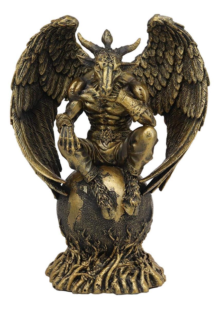 地球の上に座っている、山羊の頭の、バフォメット彫像 五芒星 祭壇 黄金の子牛メンデスの装飾的な彫刻 彫像(輸入品)