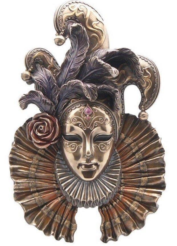 カーニバル 道化師の仮面(ジェスターマスク)ウォールプラーク(ブロンズ風)壁彫刻 彫像/ Wall Plaque Jester Mask (輸入品)
