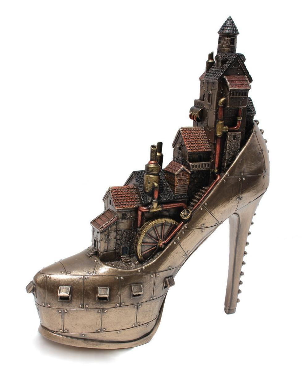 スチームパンク風 スティレットヒール(婦人靴)アイロンポリス 彫像/ Steampunk Stiletto Hill Ironopolis Cold Cast Bronze (輸入品)