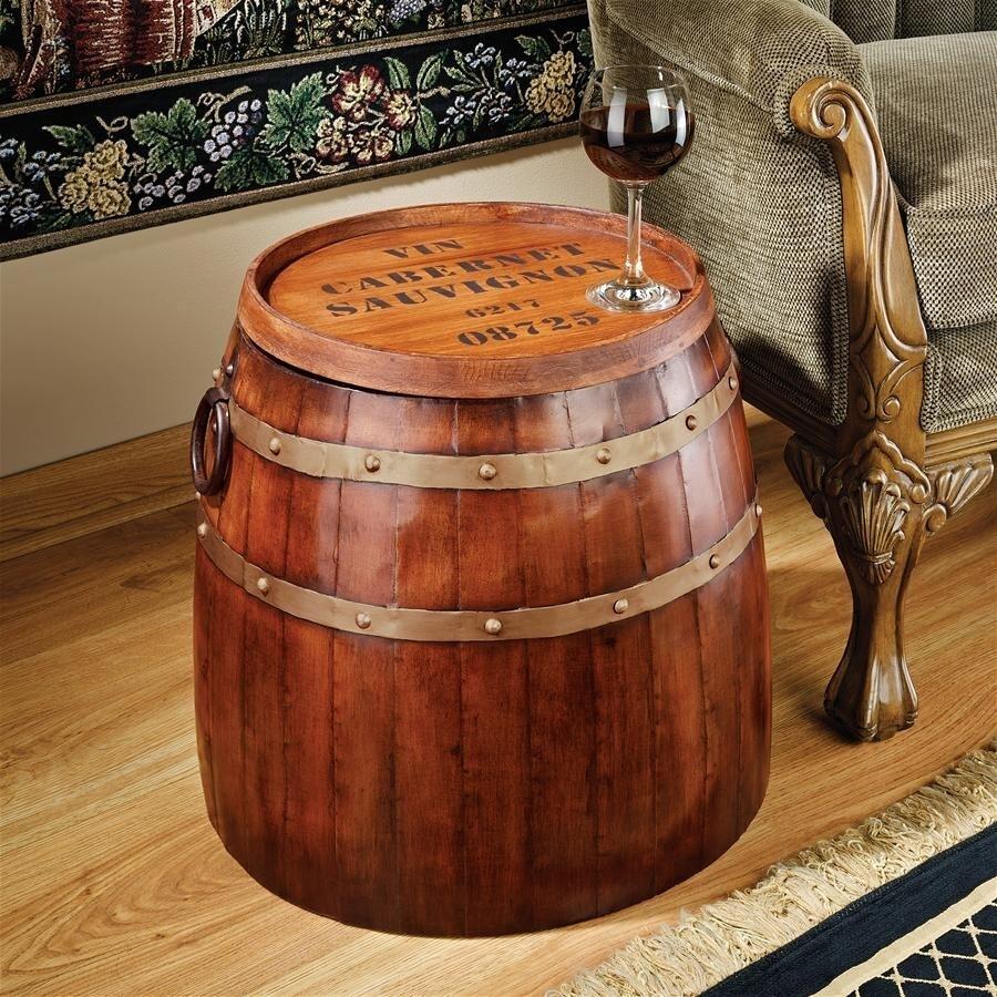 デザイン・トスカノ製 フランスのワイン樽 サイドテーブル 彫像 彫刻/ French Wine Barrel Side Table(輸入品)